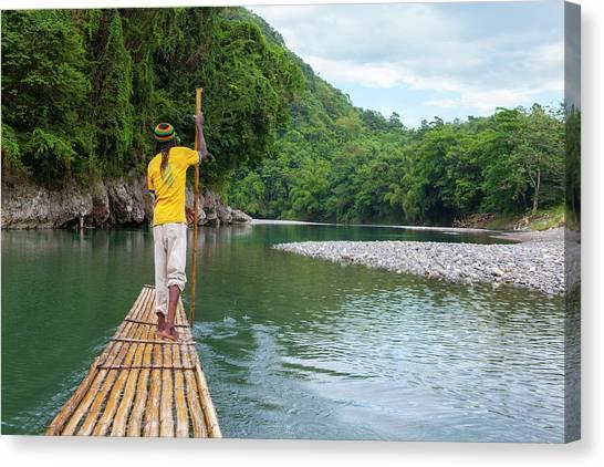 Rio Grande River Canvas Print - Bamboo Rafting On The Rio Grande by Douglas Pearson