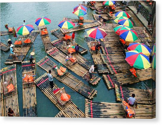 Bamboo Rafts Canvas Print
