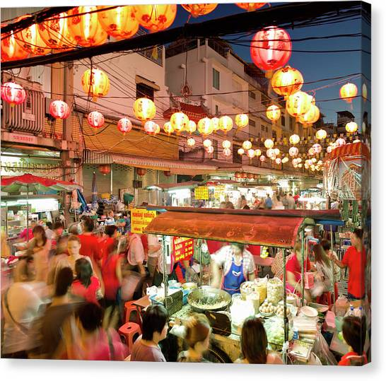 Chinese New Year Canvas Print - Bangkok, Chinatown During Chinese New by Martin Puddy