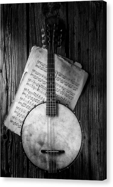 Gay Flag Canvas Print - Banjo And Sheet Music Black And White by Garry Gay