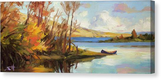 Canoes Canvas Print - Banking On The Columbia by Steve Henderson