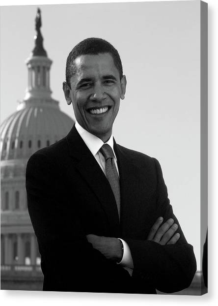 Obamacare Canvas Print - Barack Obama Outside The Capitol Building - 2005 by War Is Hell Store