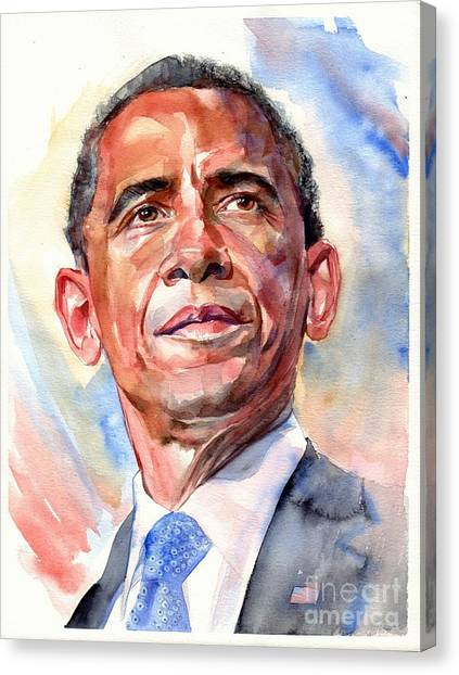 Barack Obama Canvas Print - Barack Obama Portrait by Suzann's Art