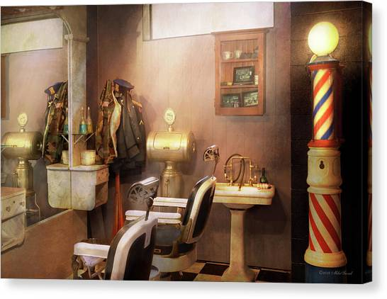 Canvas Print featuring the photograph Barber - Basement Barber by Mike Savad
