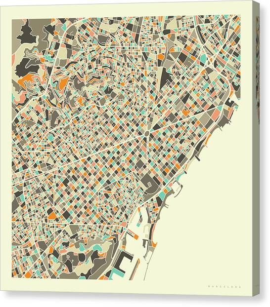 Spain Canvas Print - Barcelona Map 1 by Jazzberry Blue