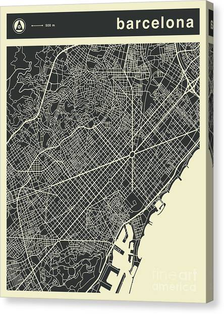 Spain Canvas Print - Barcelona Map 3 by Jazzberry Blue