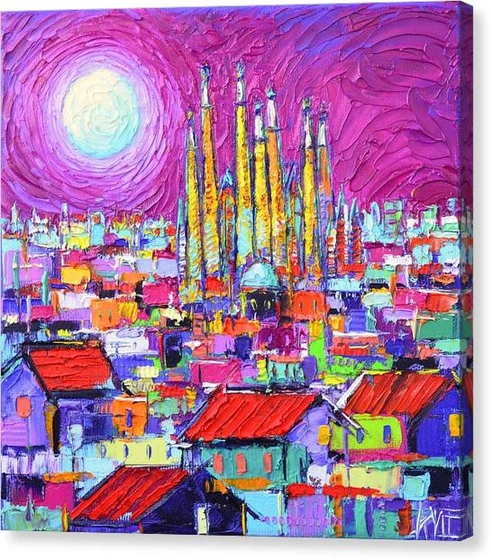Barcelona Mystic Full Moon Over Sagrada Familia Abstract Cityscape Knife Painting Ana Maria Edulescu Canvas Print