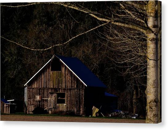 Canvas Print featuring the photograph Barn Highlight by Jerry Sodorff