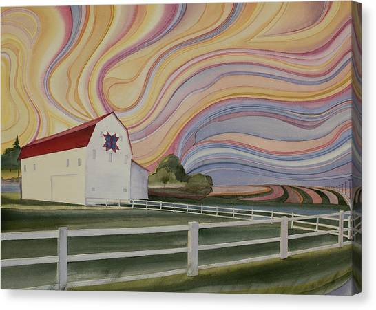 Canvas Print featuring the painting Barn On Pretty Prairie by Scott Kirby