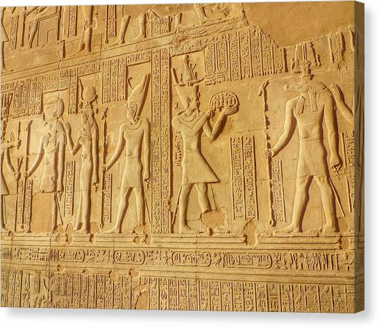 Bas Relief Figures And Hieroglyphics On Canvas Print by Fred Bahurlet / Eyeem