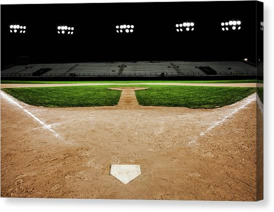 Baseball Diamond At Night Canvas Print by Jgareri
