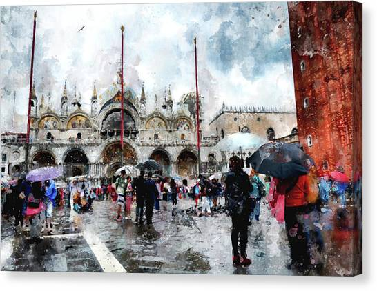 Basilica Of Saint Mark In Venice With Watercolor Look Canvas Print