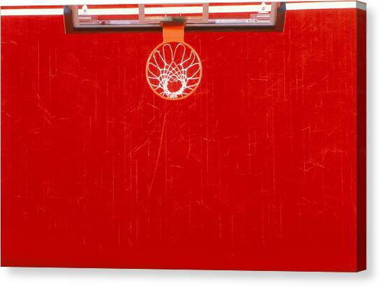 Basketball Basket And Court, Overhead Canvas Print