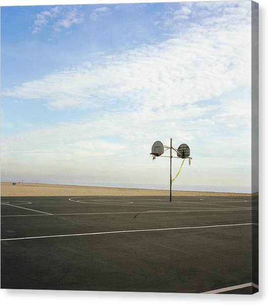 Basketball Court At Beach Canvas Print