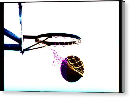 Basketball Going Through Net, Close-up Canvas Print