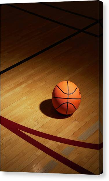 Basketball On Basketball Court Canvas Print
