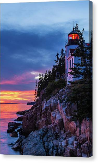 Bass Harbor Head Lighthouse At Twilight Canvas Print