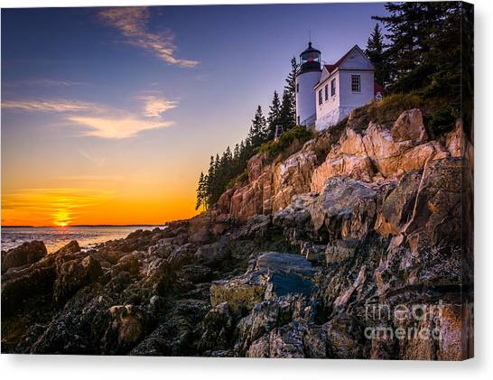 Cliffs Canvas Print - Bass Harbor Lighthouse At Sunset, In by Jon Bilous