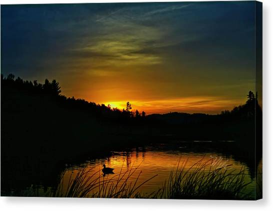 Bass Lake Sunrise Duck Canvas Print