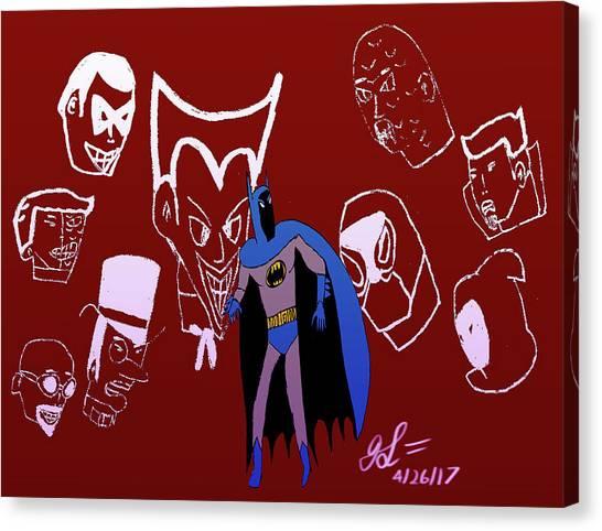 Batman's Rogues' Gallery Canvas Print by John Lavernoich