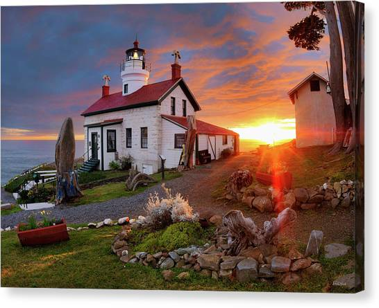 Canvas Print featuring the photograph Battery Point Lighthouse by Leland D Howard