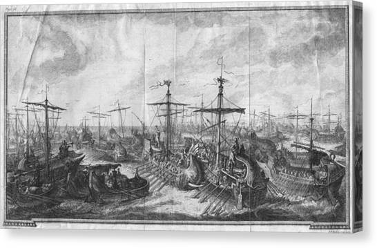 Battle Of Cape Ecnomus Canvas Print by Hulton Archive