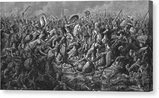 Battle Of Pharsalus Canvas Print by Kean Collection