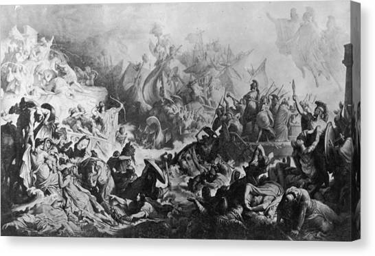 Battle Of Salamis Canvas Print by Hulton Archive