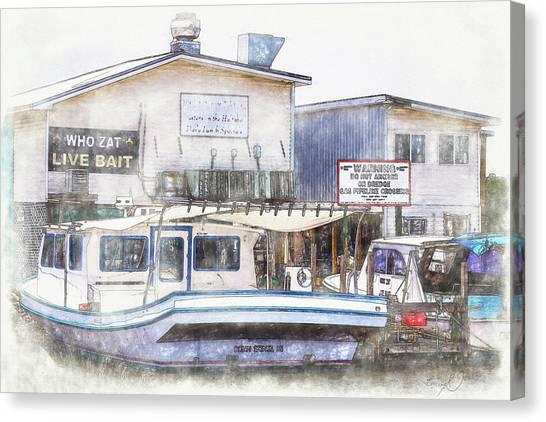 Canvas Print featuring the digital art Bayou Restaurant by Barry Jones