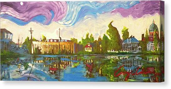 Canvas Print featuring the painting Bayou Saint John One by Amzie Adams