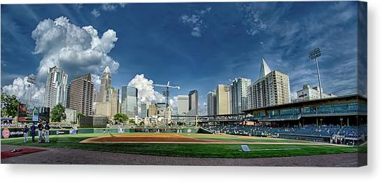 Bbt Baseball Charlotte Nc Knights Baseball Stadium And City Skyl Canvas Print