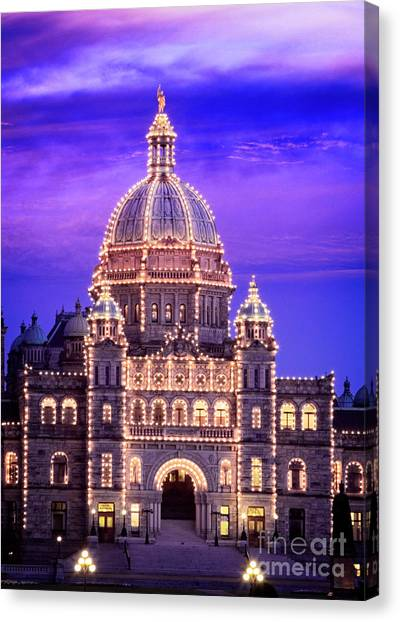 Canvas Print featuring the photograph Bc Parliament by Scott Kemper