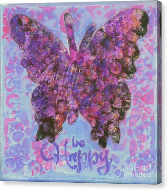 Be Happy 2 Butterfly Canvas Print