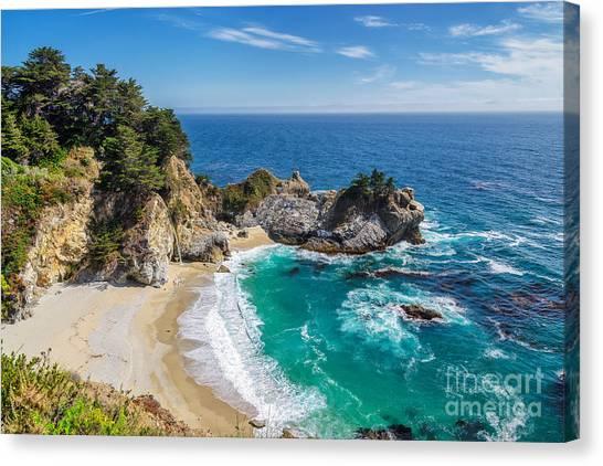 Beach And Falls, Julia Pfeiffer Beach Canvas Print by Lucky-photographer