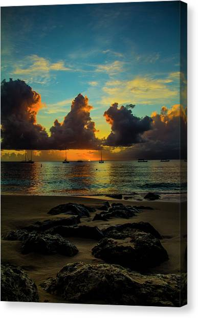 Beach At Sunset 2 Canvas Print
