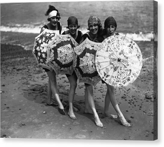 Beach Brollies Canvas Print
