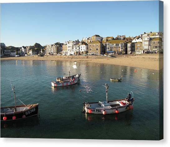 St Ives Canvas Print - Beach Front, St Ives, Cornwall by Thepurpledoor