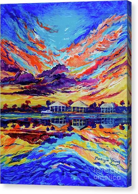 Beach House Reflections Fluid Acrylic Canvas Print