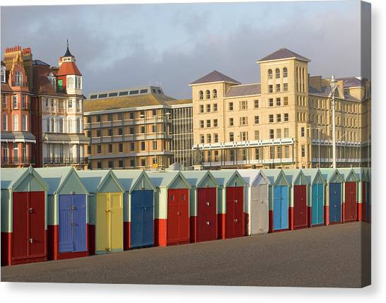 Beach Huts In Brighton Canvas Print by Martin Richardson/a.collectionrf