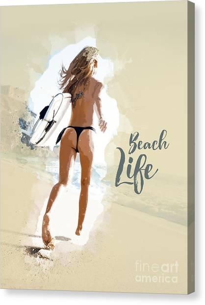 Fun Run Canvas Print - Beach Life - Woman by Stefano Cavoretto