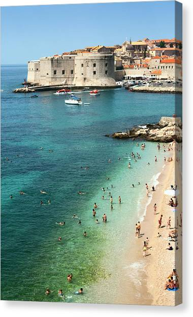 Beach Of Dubrovnik Canvas Print by Spooh