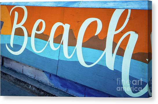 Mission San Diego Canvas Print - Beach Sign Mission To Pacific Boardwalk by Edward Fielding