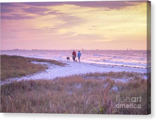 Sunrise Stroll On The Beach Canvas Print