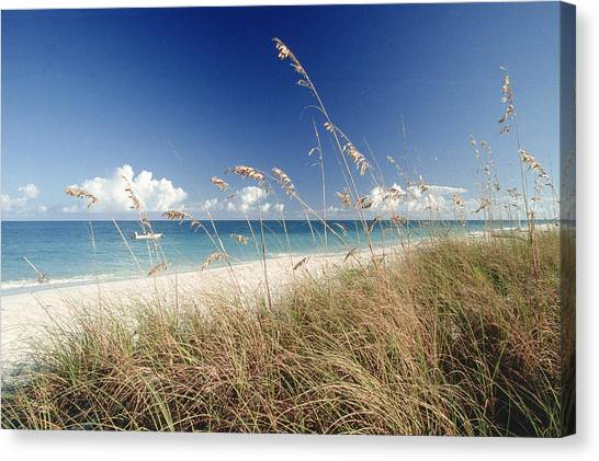 Beach W Grass And Boat, Palm Beach, Fl Canvas Print
