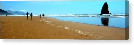 Canvas Print featuring the photograph Beach Walk Wide by Jerry Sodorff