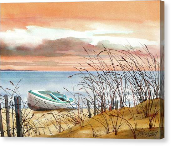 Beached In Breeze Canvas Print by Art Scholz