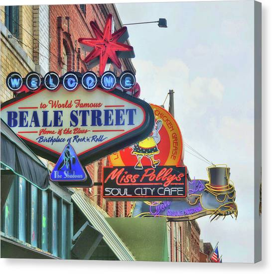 Canvas Print featuring the photograph Beale Street by JAMART Photography