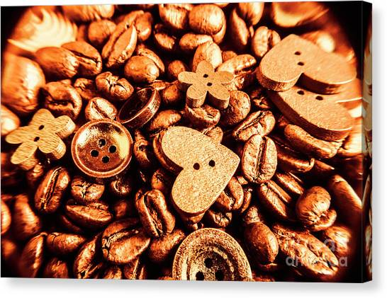 Heart Shape Canvas Print - Beans And Buttons by Jorgo Photography - Wall Art Gallery