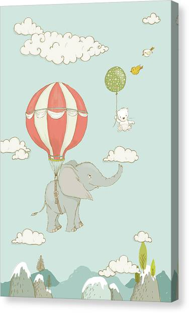 Canvas Print featuring the painting Floating Elephant And Bear Whimsical Animals by Matthias Hauser