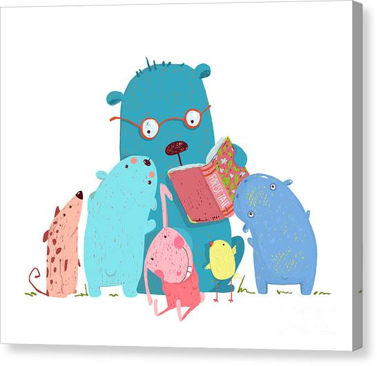 Teacher Canvas Print - Bear Reading Book For Group Of Animal by Popmarleo